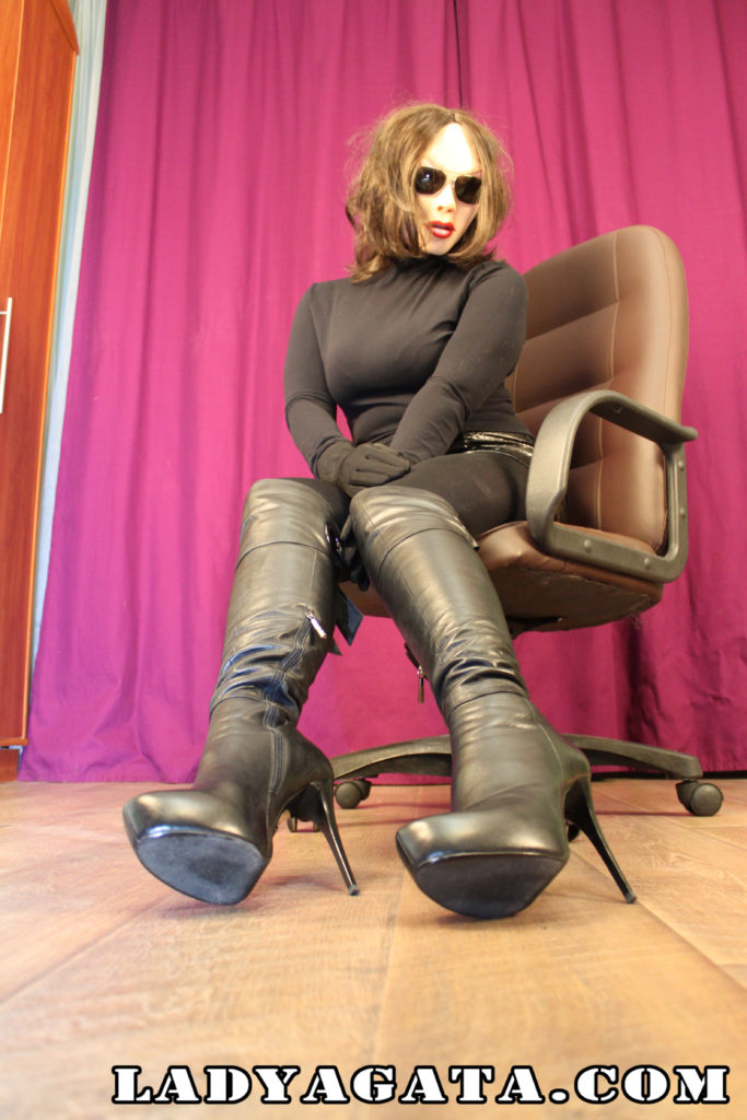 Me in sexy black high heel boots